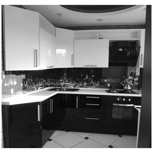 угловые кухни фото черно-белые